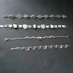 5 assorted link bracelets